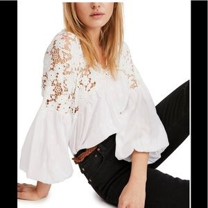 Free people, NWOT, Lina lace blouse sz M